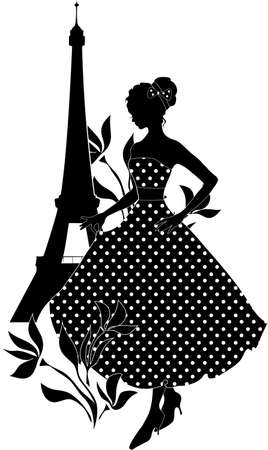 vintage fashion: Retro woman red and black silhouette with Eiffel Tower Illustration