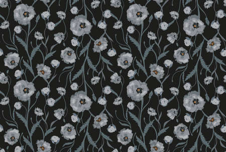 roses garden: Seamless Flower  Poppies and Roses  Pattern. Summer background garden