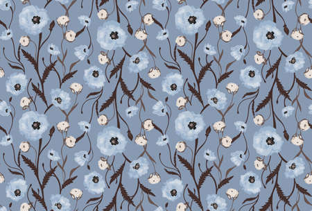 sophisticate: Seamless Flower  Poppies and Roses  Pattern. Summer background garden