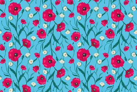 flower garden: Seamless Flower  Poppies and Roses  Pattern. Summer background garden