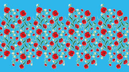 sophisticate: Seamless Flower  Poppies and Roses Frame Pattern. Summer background garden