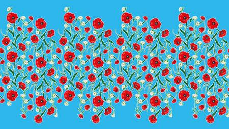 Sin fisuras flor de las amapolas y rosas patrón de marco. Verano del fondo del jardín