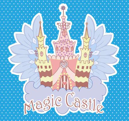 fairy castle: Cartoon fairy castle on a cloud. Dots background Stock Photo