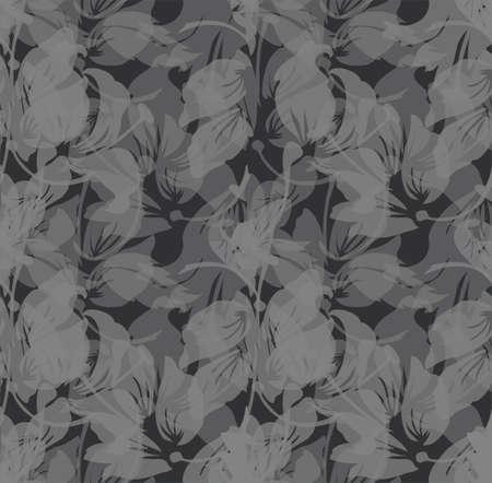 Seamless Flower  Tulip  Pattern. Monochrome background garden