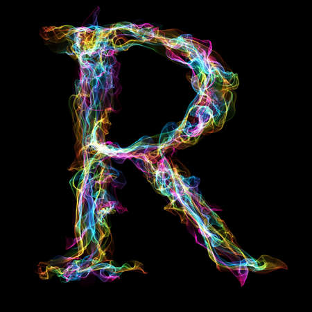 black smoke: Rainbow smoke letter R for make wonderful text Stock Photo
