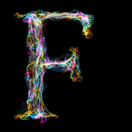 fervent: Rainbow smoke letter F for make wonderful text Stock Photo