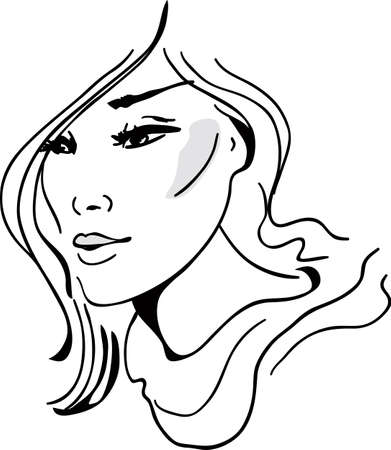 girl sketch: Stylish beautiful model for fashion design. Hand-drawn graphic illustration. Portrait of pretty girl. Sketch drawing, elegant style.