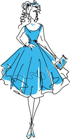 perfect female body: Stylish beautiful model for fashion design. Hand-drawn graphic illustration. Body of pretty girl. Sketch drawing, elegant style. Illustration