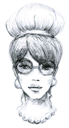 glasses model: Sketch of woman retro with glasses. Hand-drawn illustration. High detailed drawing. Fashion model portrait.