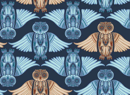 ancient bird: Dark hand-drawn abstract Owl pattern. Stylish surface design. Ancient bird drawing Stock Photo