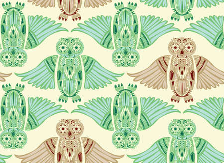 ancient bird: Light hand-drawn abstract Owl pattern. Stylish surface design. Ancient bird drawing