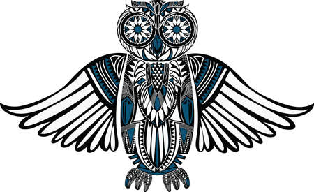 nature silhouette: Hand-Drawn Owl illustration with abstract pattern. Stylish design. Ancient bird drawing