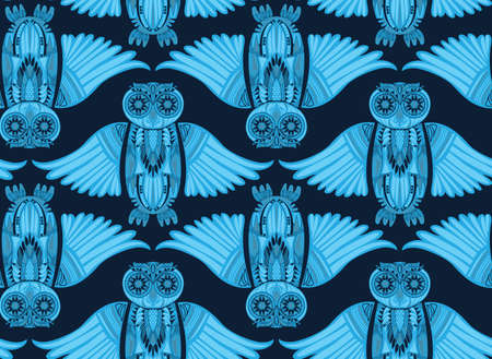 ancient bird: Dark hand-drawn abstract Owl pattern. Stylish surface design. Ancient bird drawing Illustration