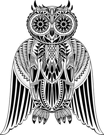 ancient bird: Hand-Drawn Owl illustration with abstract pattern. Stylish design. Ancient bird drawing