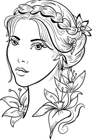 fashion portrait: Stylish beautiful model for fashion design. Hand-drawn graphic illustration. Portrait of pretty girl with flowers. Sketch drawing, elegant vector style. Illustration