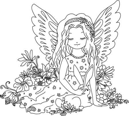Cute angel with bunny and flowers. Coloring book illustration. Digital stamp.