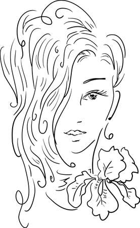 sexy young woman: Stylish beautiful model for fashion design. Hand-drawn graphic illustration. Portrait of pretty girl with iris on her neck. Sketch drawing, elegant vector style.