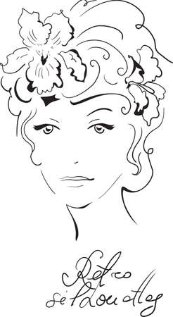 woman sketch: Stylish retro beautiful model for fashion design. Hand-drawn graphic illustration. Portrait of pretty woman with iris on her head. Sketch drawing, elegant vector style.