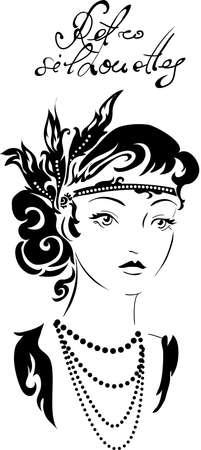 beads: Stylish retro beautiful model for fashion design. Hand-drawn graphic illustration. Portrait of pretty woman with feathers on her head . Sketch drawing, elegant vector style.