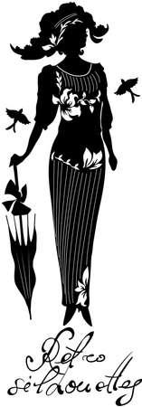 Stijlvolle retro mooi silhouet voor fashion design. Hand getekende illustratie. Lichaam van vrouw met bloemen op haar hoed. Elegant vector stijl.