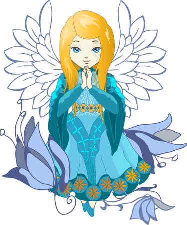 flor caricatura: ángel de la oración linda con las flores. estilo elegante del vector