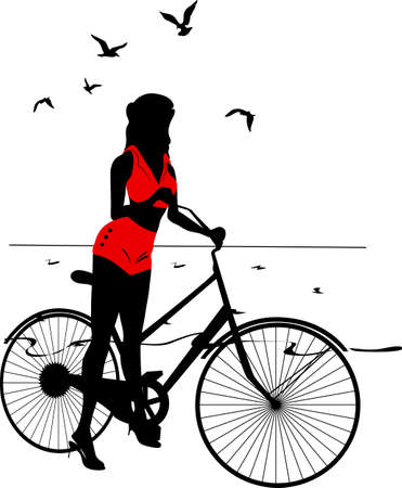 hair pins: Elegant pinup girl on a bicycle near the sea. Stylish retro beautiful person for fashion design. Stylish silhouette illustration.  Elegant vector style.
