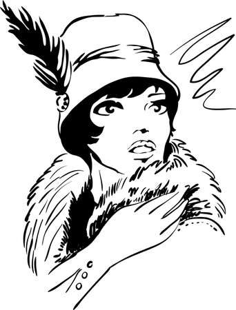 woman art: Stylish retro dramatic beautiful model for fashion design. Hand-drawn graphic illustration. Portrait of pretty woman with feathers on her head . Sketch drawing, elegant vector style.