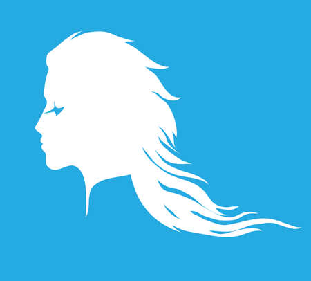 wavy hair: Woman face silhouette with long wavy hair. Pictogram for hair salon