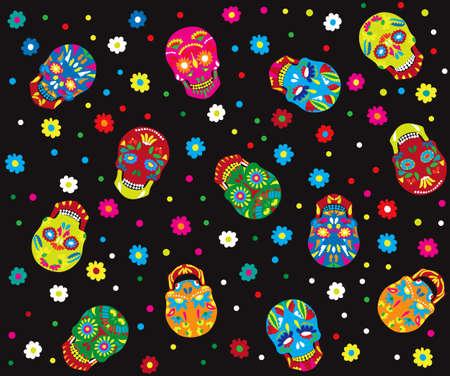 Día de los muertos patrón transparente. estilo de moda