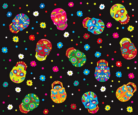 calavera: Day of the dead seamless pattern. Trendy style