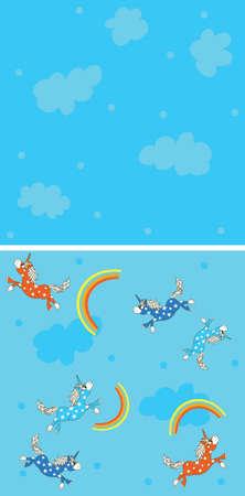 companion: Magic Unicorn seamless pattern set with rainbow with companion