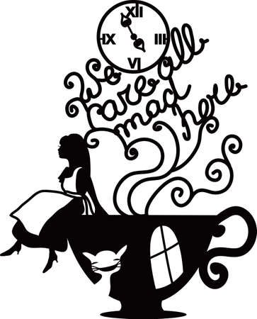 Alice in Wonderland vector illustration. We are all mad here. Fantasy stylish illustration for cafe, menu, card, book  イラスト・ベクター素材