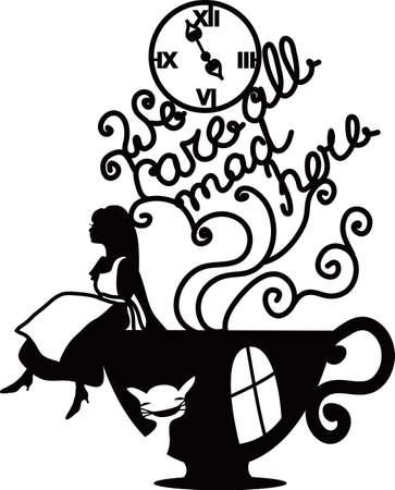 Alicja w Krainie Czarów ilustracji wektorowych. Wszyscy tutaj jesteśmy szaleni. Fantasy stylowy ilustracji do kawiarni, menu, karty, książki