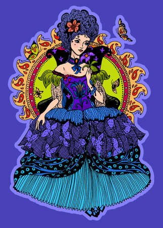 Elegant beautiful princess with butterflies. Drawing for card, invitation, flyer, notebook, post-it notes, book