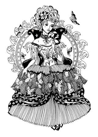 Elegant beautiful princess with butterflies. Digital stamp. Drawing for coloring book. Banco de Imagens