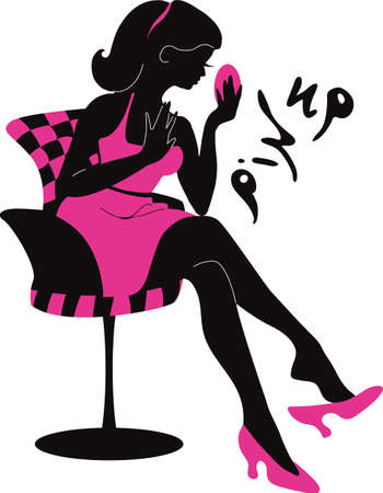 beauty salons: Pin up woman silhouette with dress. Stylish vector illustration for beauty salons, cosmetic shops