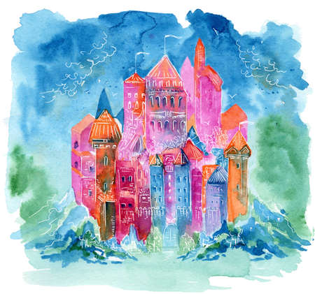 Rainbow castle. Watercolor illustration for book, notebooks, cover. Fantasy dream style painting Stock fotó