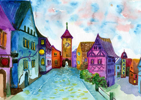 belfry: Rainbow town street. Watercolor illustration for book, notebooks, cover. Fantasy dream style painting
