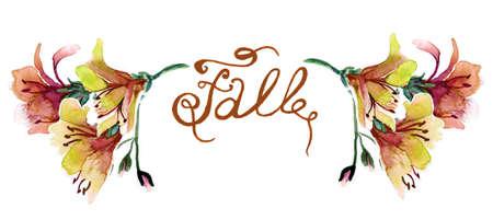 Hermoso ramo de flores de otoño. Conjunto de la acuarela de hierbas sueño. pintura esquina con el texto Foto de archivo - 62248127