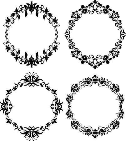 edwardian: Vector Set of Different Styles Frame Silhouettes. Floral design for elegant composition. Round form