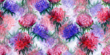 aster: Beautiful bouquet of aster flowers. Pattern of Watercolor dream herb. Illustration for cards, book