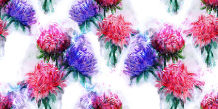 for a dream: Beautiful bouquet of aster flowers. Pattern of Watercolor dream herb. Illustration for cards, book