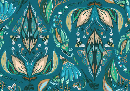 Seamless Flower Pattern. Summer background garden for design