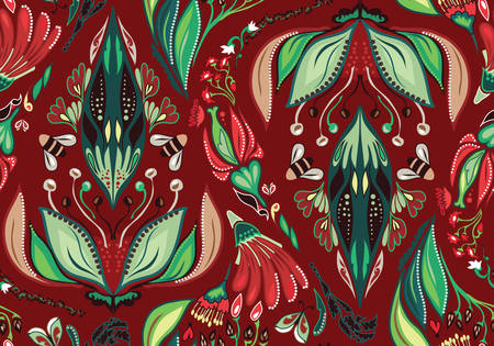 Seamless Flower Pattern. Autumn background garden for design Illustration