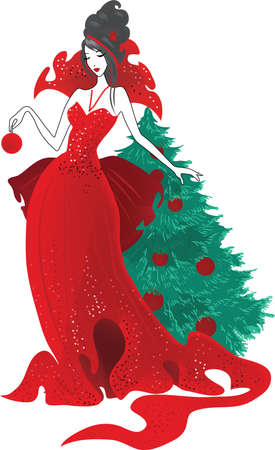 Fashion christmas illustration. Women silhouettes in red dress isolated on white background. Elegant style vector illustration for magazine and sites