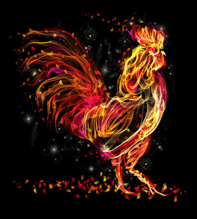fiery: Rooster. Flaming animal sparkle cool design. Fire texture illustration. New year 2017 symbol