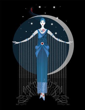 noche y luna: gráfico de la silueta de una mujer del art déco. la manera de lujo. concepto femenino Vectores