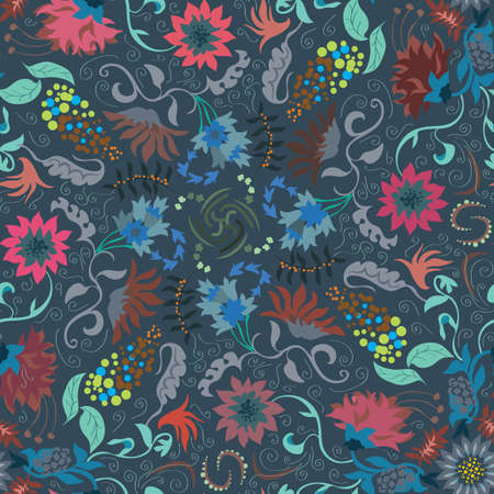 europeans: Traditional renaissances flower illustration seamless pattern