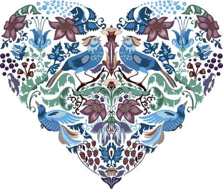 Herz-Muster mit Blumen Silhouetten