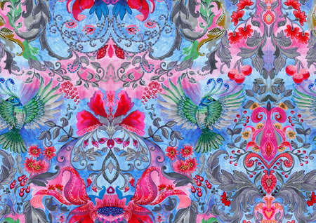 mixedmedia: Floral pattern with birds Stock Photo